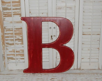 Large Wood Letter B Or Any Letter Distressed 18 Inch Wood Letters Choose Letter & Color