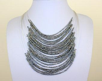 Silver Necklace with Masai Beads. Funky, Bright, Playful Choker. Maasai Beads. Handmade. MapenziGems