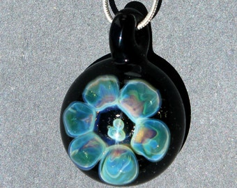 Lampwork Glass Pendant, Flower Implosion Purple and Blue Jewelry, Hand Blown Borosilicate Glass