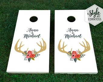 Custom Cornhole Boards - Floral Deer Antlers Monogram - For Him & Her -  Wedding Game - Hunting