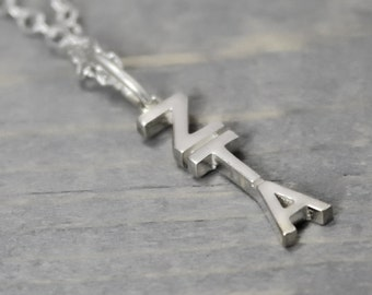 Zeta Tau Alpha Necklace, Sorority Necklace, Lavalier Necklace, Chapter Letters, ZTA Necklace, Sorority Jewelry, Sterling Silver Sorority,