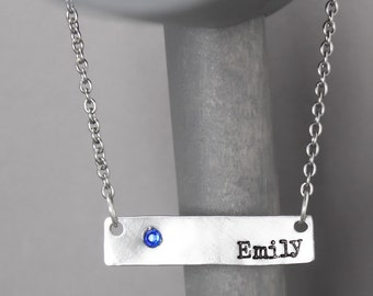 Name Necklace, Birthstone Necklace, Hand Stamped Jewelry, Personalized Jewelry, Name Jewelry, Birthsthone Jewelry, Stamped Necklace