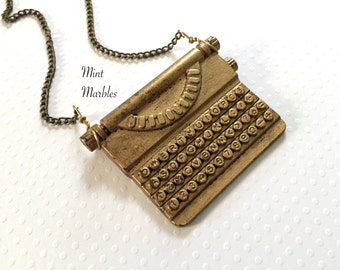 Miniature Vintage Typewriter Necklace. Statement Necklace. Long Necklace. Oddities. Antique Gold. Conversation Jewelry. Writer. Brass.