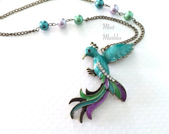 Exotic Bird Necklace. Teal Peacock Bird. Blue. Purple. Green. Vintage Style Brass Chain. Pearls. Long Necklace. Unique. Crystals. Under 25.
