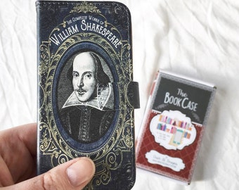 Book phone /iPhone flip Wallet case- William Shakespeare for iPhone 6, 6s, 6s plus, 5, 5s, 5c, 4, 4s- Samsung Galaxy S6 S5 S4 S3, Note 3, 4