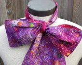 Upcycled Clothing Mad Hatter Bow Tie, Alice in Wonderland, Purple Cotton Rainbow Batik Print Costume Accessory