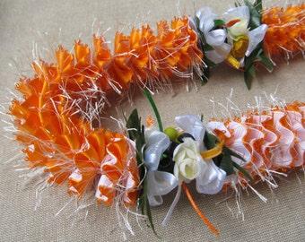 Hawaiian Ribbon Lei White and Lt. Orange Grosgrain Sparkles