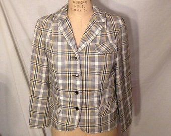 Vintage Plaid Long Sleeve Button Up Blazer By Summit of Boston Size 12 C17