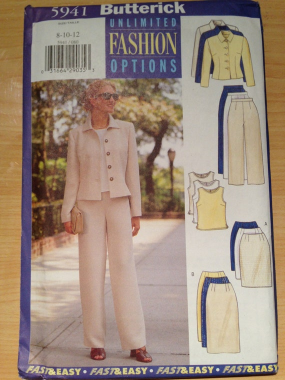 Butterick 5941 Sewing Pattern 90s UNCUT Misses and Misses Petite Jacket, Top, Skirt and Pants Dress Size 8-12
