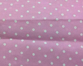 Baby Pink and White Pink Polka Dots Fabric /  Soft Cotton Fabric Remnant / Indian Cotton Fabric Remnant
