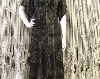 Beautiful 1970's two piece olive paisley pattern dress