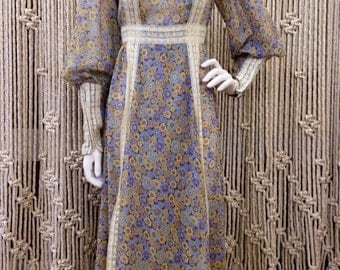 Amazing late 60's floral and lace Gunne Sax bohemian maxi dress