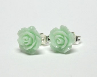 Tiny Mint Rose Earrings - Flower Earrings - Silver Stud Earrings - Spring Inspired Jewelry