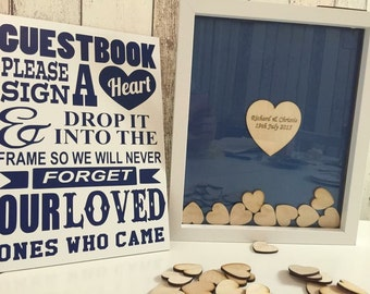 Personalised drop top guesbook 100 x hearts navy blue guest book package