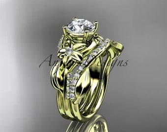 Unique 14k yellow gold diamond flower, leaf and vine wedding ring, engagement set ADLR224S