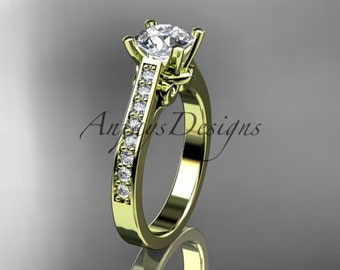 """14kt yellow gold diamond unique engagement ring, wedding ring with a """"Forever One"""" Moissanite center stone ADER134"""