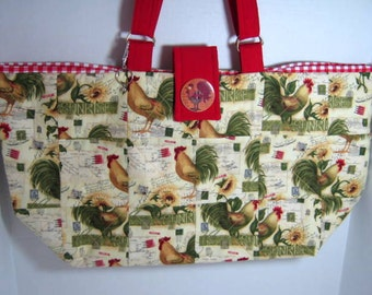 Chicken Fabric Yarn Organizer Tote, Large Market Bag, Library Book Tote, Knitting Crochet Tote Bag, Yellow Carryall