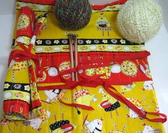 Chicken Fabric Needle Roll Set, Straight and Crochet Double Pointed Needles Holder, Knitting Crochet Rolls Organizer