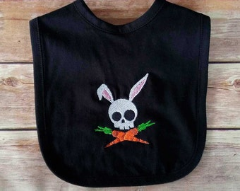 Skull and Crossbones Bunny Baby Bib - Baby Shower Gift - Punk Baby Clothes - Rock Baby Clothes - Cool Baby Clothes - Goth