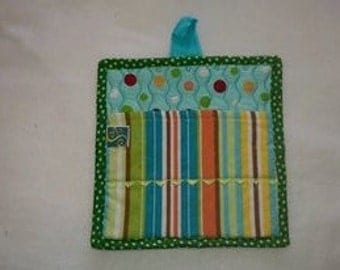 9 X 8 Aqua and Green Polka Dots and Stripes, Pot Holder, Hot Pad, Oven Mitt, Insulated, Quilted, Pocket, Kitchen