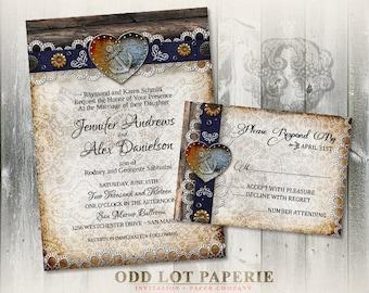 Nautical Anchor Wedding Invitation and RSVP Card, Rustic Wedding Invitation, DIY Printable Invitation, Navy Wedding, Destination Wedding