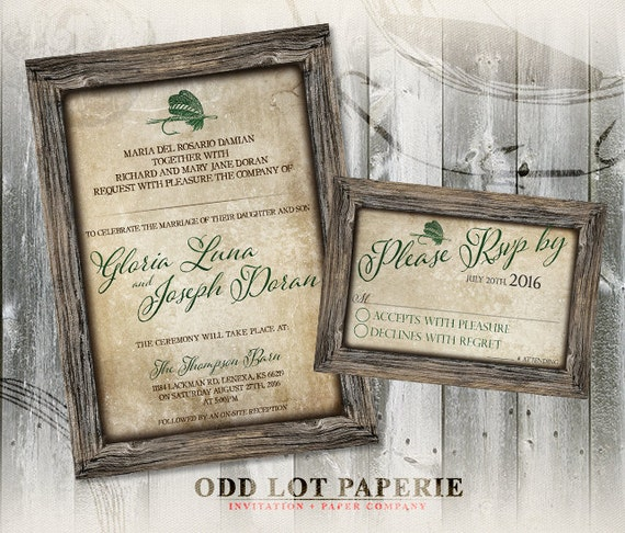 Rustic Wedding Invitation Fonts: Rustic Fishing Printable Wedding Invitation And RSVP
