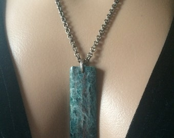 Apatite Necklace, Apatite Pendant Necklace, Apatite And Sterling Antiqued Plated Chain