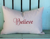 lumbar 14x20 Believe embroidered Christmas pillow Holiday gift-monogram- decorative cover-gifts under 35-throw pillow-accent pillow
