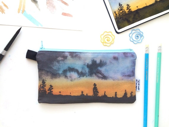 Sunset Divided Pencil Case with pockets handmade