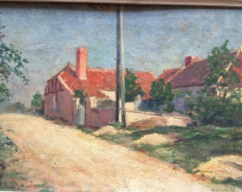 French  painting G.Moroge 1935. French village. Country side.