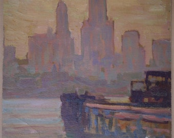 SALE New York, View of the City from Brooklyn, Original Oil Painting