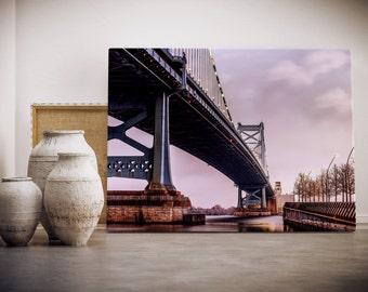 PRINT or CANVAS Photograph of Ben Franklin Bridge in Philadelphia Fine Art Philly landmark home decor bridge at sunset