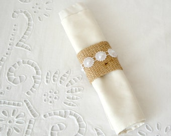 Burlap Napkin Rings with pearl chain - set of six