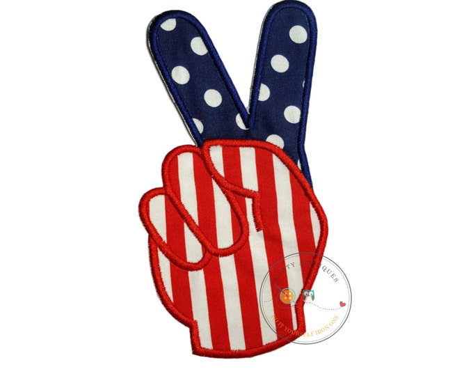 American flag peace sign fingers iron-on applique in red, white, and blue with matching red and blue embroidery thread and cotton fabric