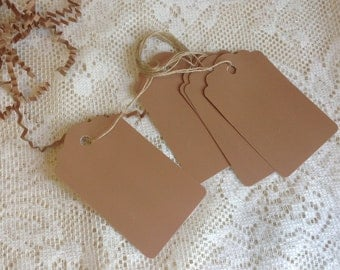 100 Large KRAFT paper tags including twine