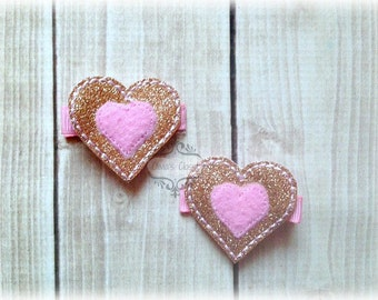 Gold & Pink Heart Hair Clip Valentines Hair Clippie Birthday Hair Clip Heart Hair clip Pick one or two. Pick Left side or Right.