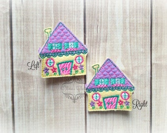 Doll House clip Mother's Day Embroidered Felt Hair Clips Pick one or two. Pick Left side or Right.