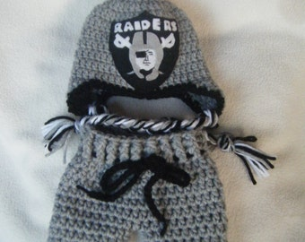 Crocheted Inspired Raiders Hat & Short Pants Set (Pick Your Favorite Team) - Made to Order
