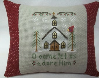 Christmas Church Cross Stitch Mini Pillow Shelf Pillow