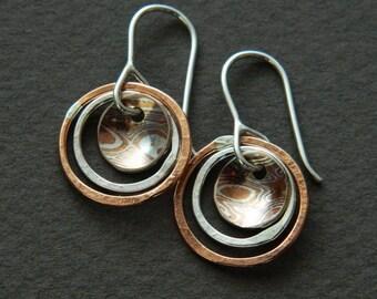"Mixed metal earrings ""planets"""