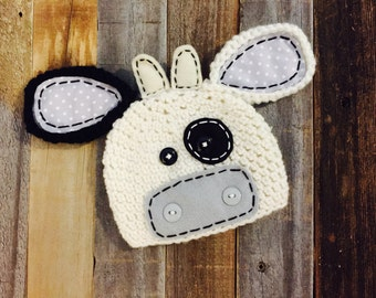 Mr.Moo crochet hat