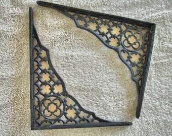 Vintage set cast iron shelf bracket Gothic Revival Style  shelf bracket set of two