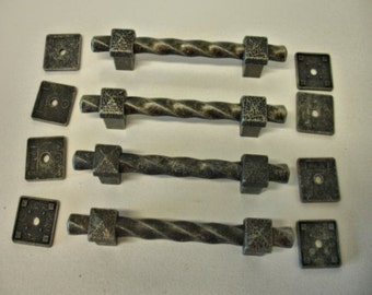 Vintage Lot of 4 Black And Silver Pull Handles Mid Evil Style Lot no. 905