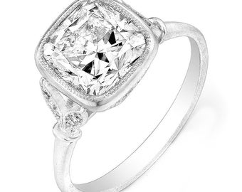GIA Certified 1.50 ctw Cushion & Round Diamond Engagement Ring in 18k White Gold