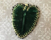 Pretty Victorian Heart Shaped Velvet Leaf From Crazy Quilt