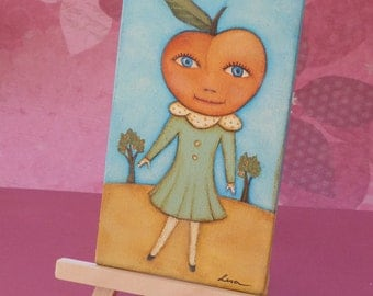 original anthropomorphic peach girl painting with easel