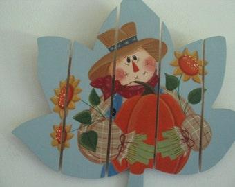 Scarecrow, leaf, fall, fall decor, sunflower, pumpkin, wall hanging, door hanging, autumn