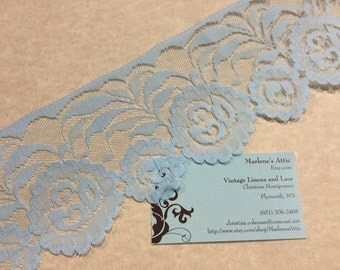 1 yard of 3 1/2 inch Light Blue Chantilly lace trim for wedding, baby, hair accessories, lingerie by MarlenesAttic - Item 6Z