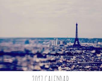 Paris Photo Calendar, Eiffel Tower, Vintage Paris, Travel Photography, Paris Wall Calendar, Paper Goods, Stationary, 2017 Calendar, Calender