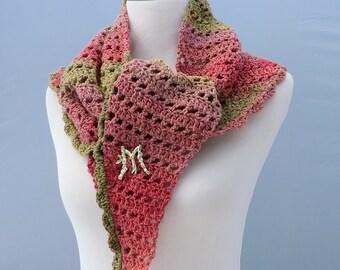 Hand crochet pastel pink green shawl